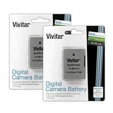 2 Vivitar EN-EL14a Lithium Ion Battery Packs for Nikon D3300 D3200 D3100 Df