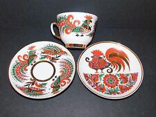 Trío de porcelana Lomonosov Taza de salsa teaplate Rojo Oro Verde Gallito Diseño URSS