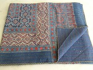 Block Printed Ajrakh Kantha Quilt Hippie bedspread boho cotton bedding coverlet