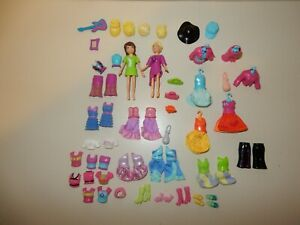 Large Bundle of Polly Pocket Magnetic Dolls, Clothes and Accessories