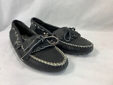 NEW Minnetonka Driving Moccasins Loafers Shoes Womens 5.5 Black Leather USA