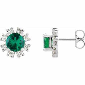 Emerald & .08 CTW Diamond Earrings In 14K White Gold