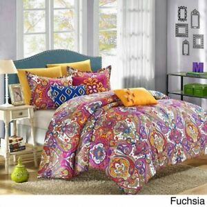Blue Yellow Pink Global Paisley 8 pc Comforter Set Twin Full Queen King Bedding