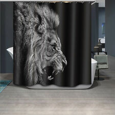 "72x72"" Brown Lion Bathroom Polyester Fabric Waterproof Shower Curtain 12Hook 931"