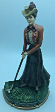 """Vintage Cast Iron Woman Playing Golf Door Stopper 14"""" X 8"""" Inch RNC0198"""