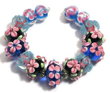 15 Lampwork Glass Beads Black Pink Cobalt Flower Loose Rondelle Spacer 8x14mm