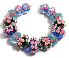 Lampwork Glass Beads Black Pink Cobalt Swirl Flower Loose Jewelry Making Craft