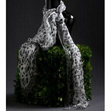 """BLACK WHITE SHEER ANIMAL ABSTRACT SCARF 74""""L WOMENS CLOTHING ACCESSORIES SCARVES"""