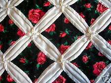 Cathedral Window Quilt, Red Rose Pattern, Queen Size