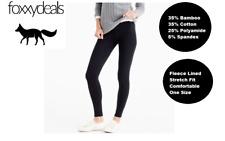 BAMBOO Leggings Pants Fleece Lined SZ 8 10 12 14 16 Black Stretch Winter Warm AU