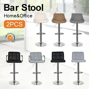 2 × Faux Leather Bar Stools Kitchen Breakfast Swivel Gas Lift Chairs Dining Room