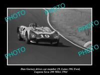 OLD HISTORIC PHOTO OF DAN GURNEY & HIS LOTUS FORD RACE CAR, LEGUNA SECA 1964
