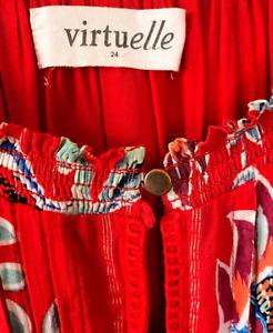 VIRTUELLE ~ Size 24~  Red Sleeveless Floral  Midi Dress