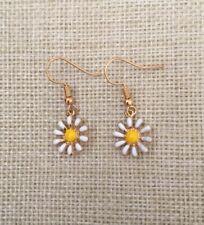 White Daisy Flower Daises Drop/Dangle Hook Fastening Gold Plated Earrings