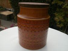 VINTAGE HORNSEA POTTERY Tall Saffron Sugar storage jar - wooden lid  c1977 VGC
