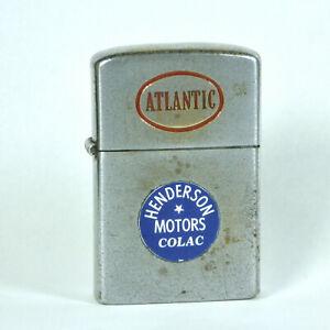 Atlantic Lighter Advertising Henderson Motors Colac Zippo Vintage Petrol Oil Car