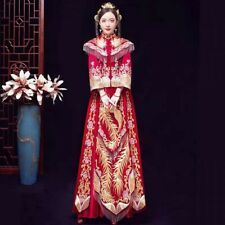 Chinese Traditional Bride Dress Clothing Gold Phoenix Wedding Dress Red Costume
