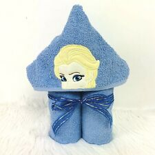 Elsa Inspired Hooded Bath Towel Blue Lg Shower Beach Swim Princess Embroidered