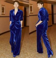 Royal Blue Velvet Women Pants Suits Set Blazer Jacket Party Prom Fashion Dinner