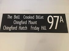 """London Bus Blind 60 42"""" 97a The Bell Crooked Billet Chingford Hatch Friday Hill"""