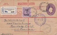 APH199) Australia 1930 4.5d Violet Registered postal stationery cover