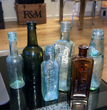 More details for antique glass bottle job lot (6 items) apothecary mineral water condiment poison
