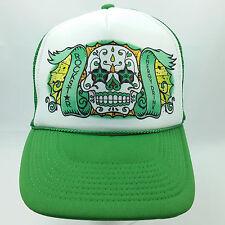 Rockstar Dia De Los Muertos Sugar Skull Energy Drink Hat Green Snapback Trucker