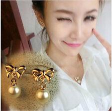 New Korean pearl earrings simple gold - plated bow earrings jewelry