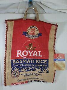 Free ship Royal Basmati Rice 25 years EMPTY Burlap Sack Zippered Top Bag handles