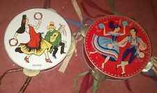 X2 Vintage panderetas Coleccionable Juguete Antiguo baile gitano