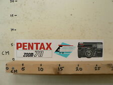 STICKER,DECAL PENTAX ZOOM - 70 87-88 COMPACT CAMERA 23 CM LONG LARGE 29 CM