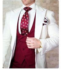 Groomsmen Peak Lapel Groom Tuxedo Suits Wedding Prom Man Blazer 3Pieces Custom