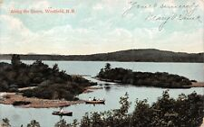 WESTFIELD NEW BRUNSWICK CA~ALONG SHORE POSTCARD 1908 PM CARTIER CHAMPLAIN  STAMP