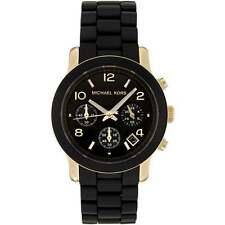 Michael Kors mujer Runway Cronógrafo negro & oro reloj de pulsera Mk5191