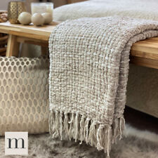 Luxury Large Woollen Feel Blankets Neutral Linen Beige Bed Sofa Throw Woven