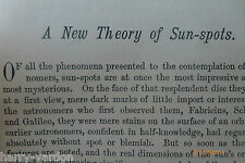 Antique Victorian Article New Theory of Sun Spots Astronomy 1884