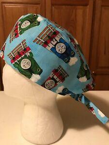 Scrub or Chef Hat Medical Nursing Chemo Skull Cap Thomas The Train Cotton Fabric