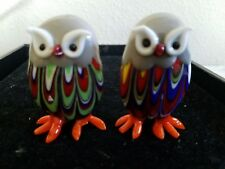 "MURANO ? set of 2 Mini Owl FIGURINES   ART GLASS 2 1/2""h"
