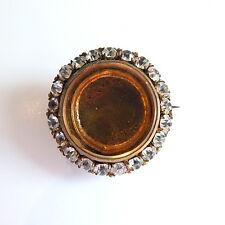 Stunning Antique Edwardian Diamond Paste Photo Locket Brooch Mourning/Sweetheart