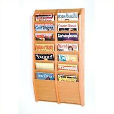 Pemberly Row 14 Pocket Wall Mount Magazine Rack in Light Oak
