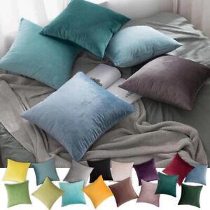"Plush Velvet Cushion Covers Pillow Cases Soft Plain Zipped Cushion Cover 16-24"""