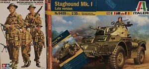 ITALERI STAGHOUND MK1 (AUSTRALIAN SCHEME) + METAL PARTS + 5 INFANTRY FIGURE 1/35