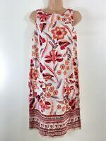 BNWOT NEXT cream & red linen mix summer shift dress size 8 also fits 10