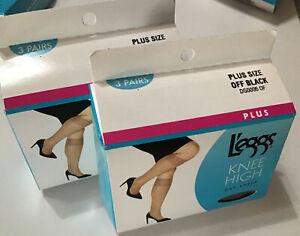 2- 3 Packs Women's L'eggs DAY SHEER Toe Knee Highs PLUS SIZE Off Black