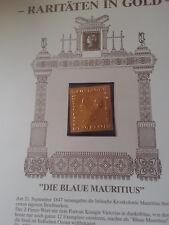 """Briefmarken-Raritäten in Gold """"Blaue Mauritius"""", 1847 (23 Karat Echtgoldfolie)"""