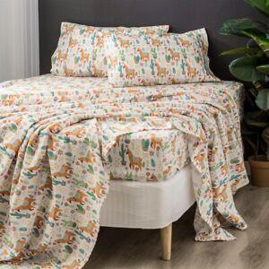 Park Avenue 175 GSM Egyptian Cotton Flannelette printed Sheet Sets Alpaca