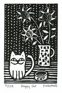 Happy Cat - Black And White Miniature Engraving