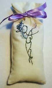 Hand Embroidered Lavender Sachet - Floral Spray