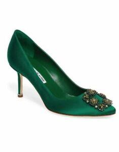 Manolo Blahnik Emerald Green Hangisi Buckle Satin Pumps Size 35 (US 5) $1215