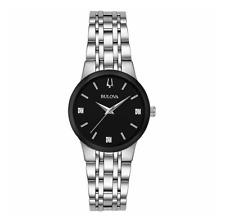 Black Dial Diamond Accent Watch Nwot Bulova 96P200 Women'S Modern Quartz